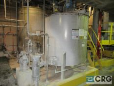 """Trial coating stainless steel storage tank #8, 1175 gal, 65"""" high, with connecting diaphragm pump"""