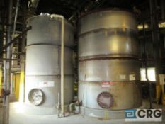 """Lot of (2) Stainless tanks consisting of (1) 11,000 gal x 168"""" high ss tank, and (1) 6800 gal of"""