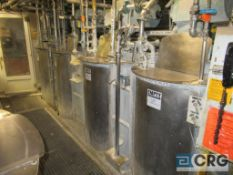 Lot of (8) Assorted stainless coating - dilution tanks, majority with prop style agitators,