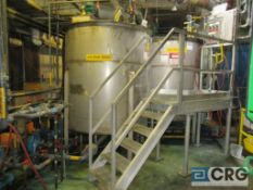 Set of (2) Stainless dye tanks, open tops with Lightnin agitators, bottom discharges and