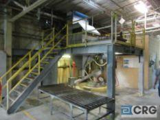 Lot Dissolver #2 dump platform consisting of 48 in. steel filter bag dump with Torit Donadlson