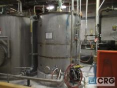 """Polystar stainless make-up tank, 1500 gal, 84"""" height, with connecting air diaphragm pump"""