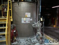 316 stainless steel dimple jacketed mixing tank with center top mount Lightning agitator, 2,278 Gal.