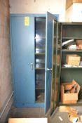 Double Door Storage Cabinet with Contents
