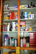 Lot - Fluids, Small Metal Cabinets and Assorted Parts