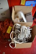 Lot - Extension Cords, Bungee Cords and Rope