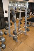 Hammer Strength Barbell Rack with GPI Fixed Barbells (Curled and Straight)