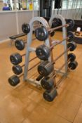 Barbell Rack with IVANKO Straight Fixed Barbells (20 Lb - 110 Lb.)
