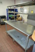 """Stainless Steel Table with Hutch Top, 30"""" x 72"""""""