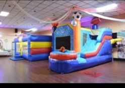 Inflatable Sports Themed Slide & Bounce House with (1) Blower