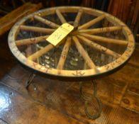 Wagon Wheel Glass Top Table
