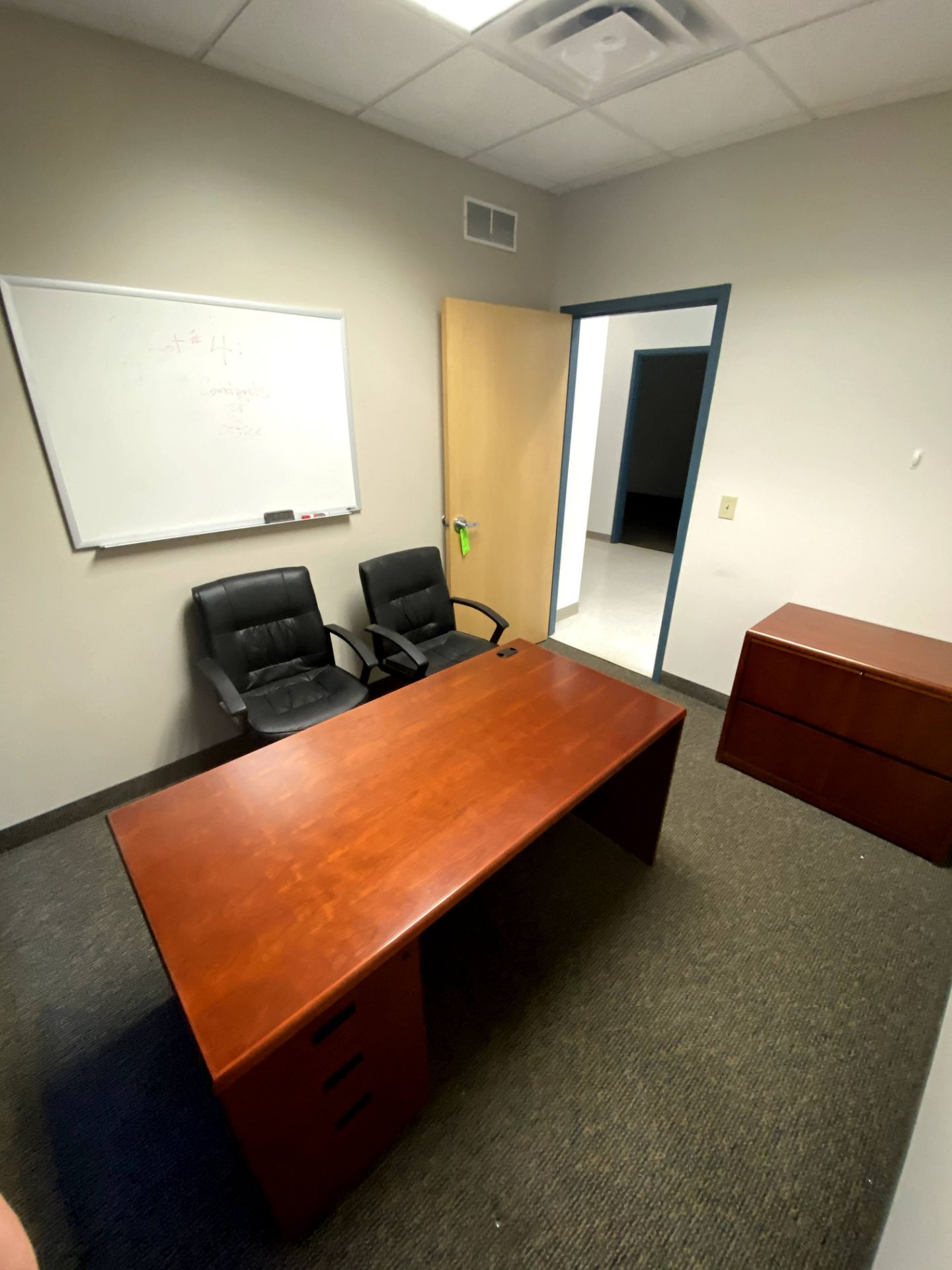 CONTENTS OF OFFICE INCLUDING: (2) CHAIRS EXECUTIVE DESK HORZ FILING CABINET & DRY ERASE BOARD -- ( - Image 2 of 2