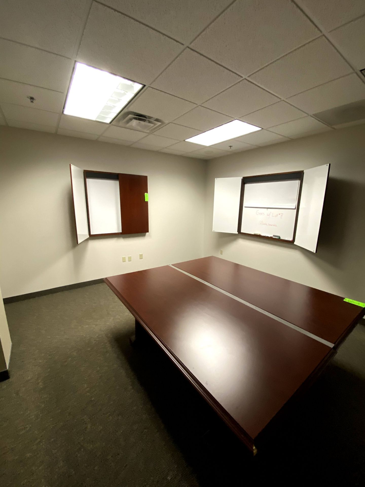 (2) CHERRY WOOD WALL MOUNTED DRY ERASE BOARD(S) - 1 WITH PULL DOWN SCREEN -- (7625 OMNITECH PLACE - Image 3 of 3