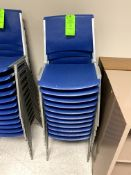 (11) BLUE ALUMINUM STACKABLE CHIAIR(S) WITH PLASTIC SEAT & BACK -- (7625 OMNITECH PLACE VICTOR NEW