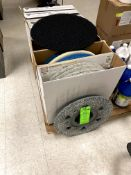 """(7) BOXES OF NEW & GENTLY USED 20"""" FLOOR MAINTENANCE PADS & (1) SPARE FLOOR PAD MOUNTING"""