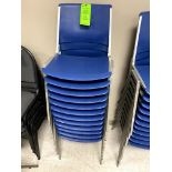 (12) BLUE ALUMINUM STACKABLE CHIAIR(S) WITH PLASTIC SEAT & BACK -- (7625 OMNITECH PLACE VICTOR NEW