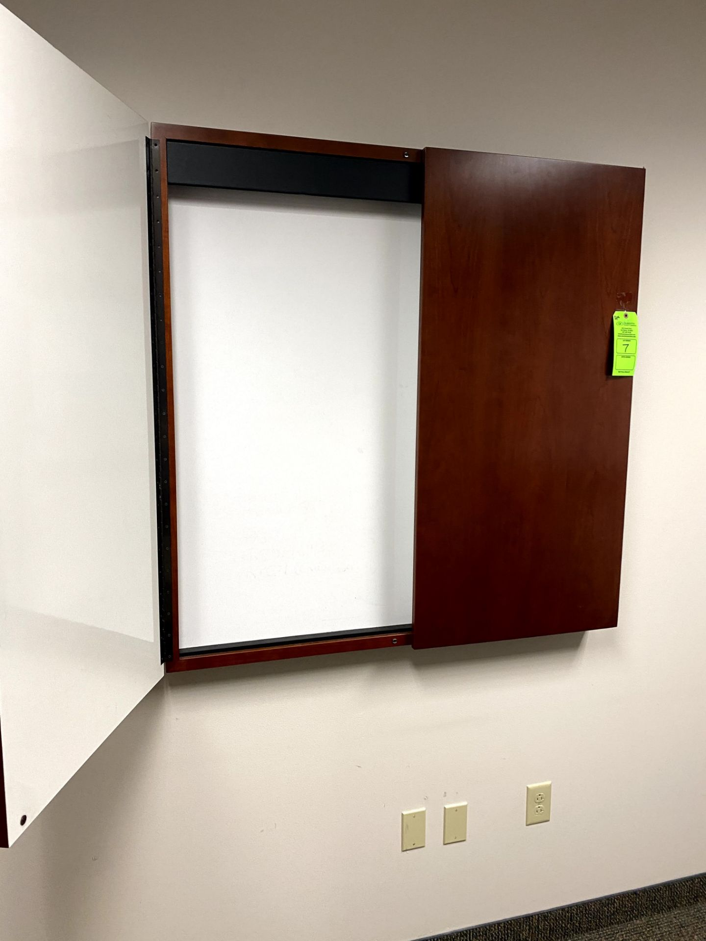 (2) CHERRY WOOD WALL MOUNTED DRY ERASE BOARD(S) - 1 WITH PULL DOWN SCREEN -- (7625 OMNITECH PLACE