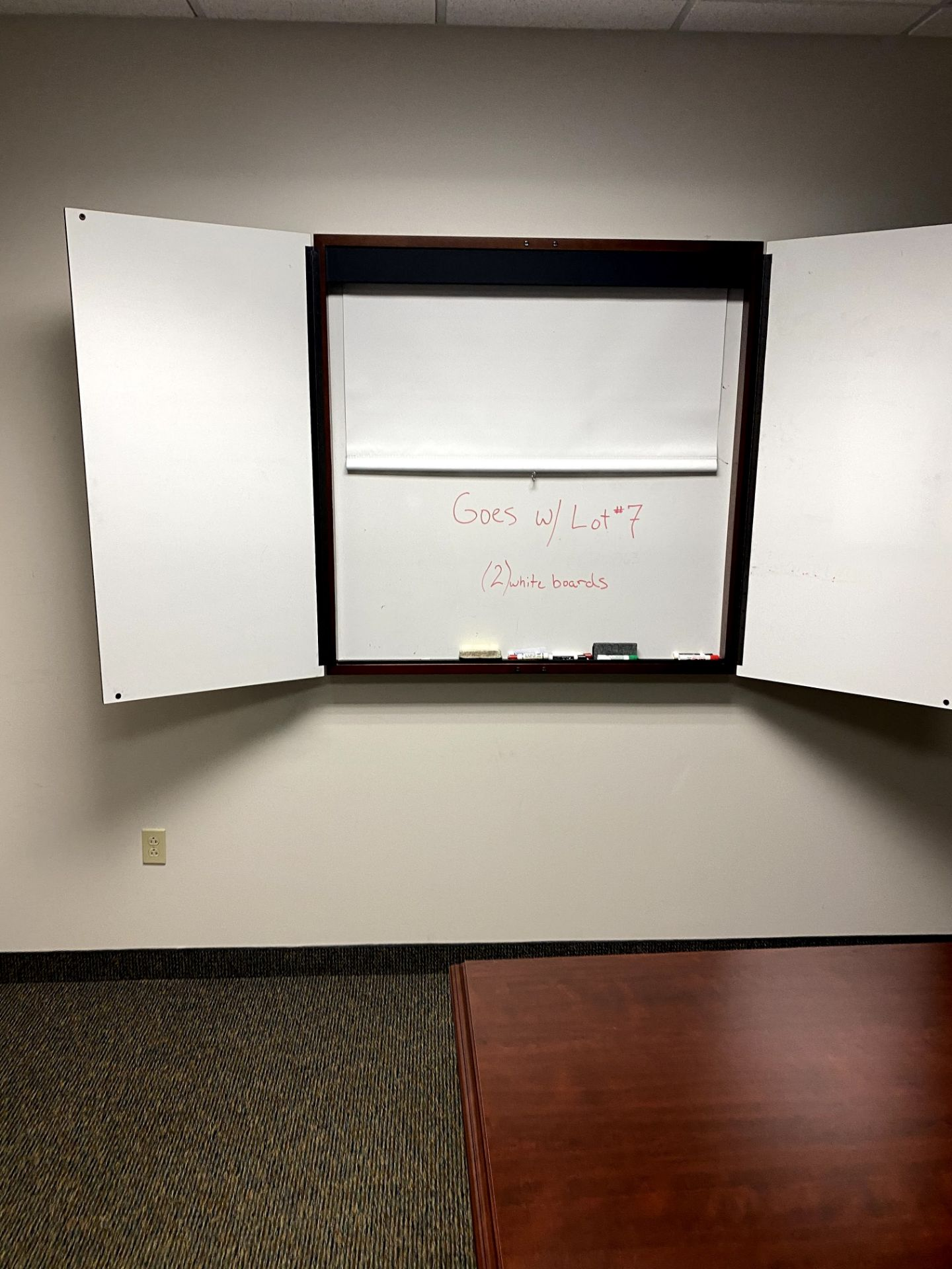 (2) CHERRY WOOD WALL MOUNTED DRY ERASE BOARD(S) - 1 WITH PULL DOWN SCREEN -- (7625 OMNITECH PLACE - Image 2 of 3