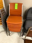 (8) ORANGE ALUMINUM STACKABLE CHIAIR(S) WITH PLASTIC SEAT & BACK -- (7625 OMNITECH PLACE VICTOR