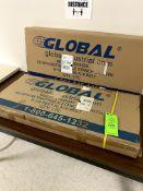 "(2) GLOBAL INDUSTRIAL SS 39"" H RETRACTABLE STANCHION W/ 6-1/2' BLACK BELT -- (7625 OMNITECH PLACE"