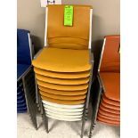 (12) YELLOW ALUMINUM STACKABLE CHAIR(S) WITH PLASTIC SEAT & BACK -- (7625 OMNITECH PLACE VICTOR
