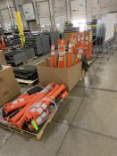 LOT OF APRROX 20 SAFETY CONES AND PLASTIC BARRACADE CHAIN: 4 SKIDS