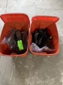 (2) TOTES OF VARIOUS SIZE STEEL TOE SHOE COVERS