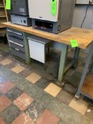 WOOD TOP WORK TABLE W/ BOLT 5 DRAWER TOOL CABINET