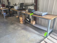 (4) STEEL TABLES WITH PARTICLE BOARD TOP 6'X2' ; (1) STEEL TABLE WITH PARTICLE BOARD TOP 4'X2'