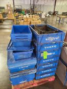 PALLET OF VARIOUS PLATIC BINS WITH LIDS