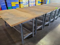 (4) STEEL TABLES WITH PARTICLE BOARD TOP 6'X2'