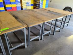 (5) STEEL TABLES WITH PARTICLE BOARD TOP 6'X2'