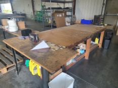 (3) STEEL TABLES WITH PARTICLE BOARD TOP 5'X2' ; (1) WOOD TABLE 8'X4'
