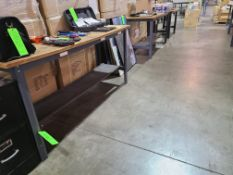 """(2) STEEL TABLES WITH PARTICLE BOARD TOP 6'X2'; (1) STEEL TABLE 44""""X24""""; (1) FILE CABINET"""