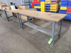 (3) STEEL TABLES WITH PARTICLE BOARD TOP 6'X2'