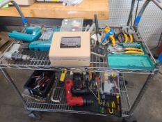 CART OF VARIOUS HAND TOOLS AND SCREWDRIVERS