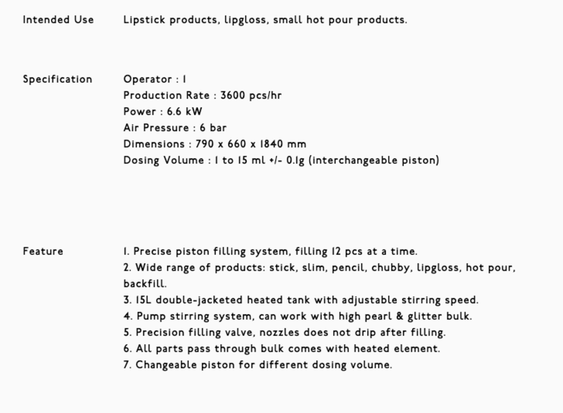 L-99-2T Lipstick Filling Machine - Image 13 of 19