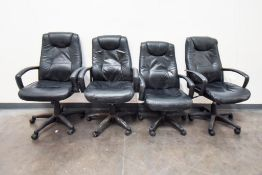 4 Black Leather Lab Chairs