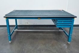 Blue Table With Black Table Top Single Deck