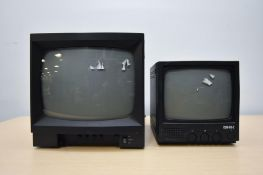 2 Black CCTV Monitors 9in and 12in