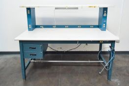 Blue Inspection Table with white top