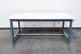 Blue Table with White Table Top Single Deck