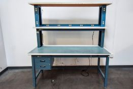 Blue Desk with White Table Top