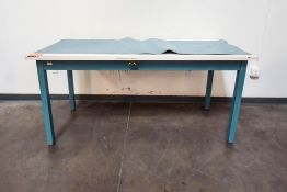 Blue Table with White Table Top