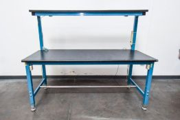 Blue Inspection Table with Black Top
