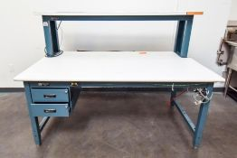 Production Industries Blue Table with White Top Double Decker