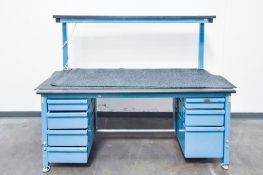 Blue Table with Black Table Top Double Decker