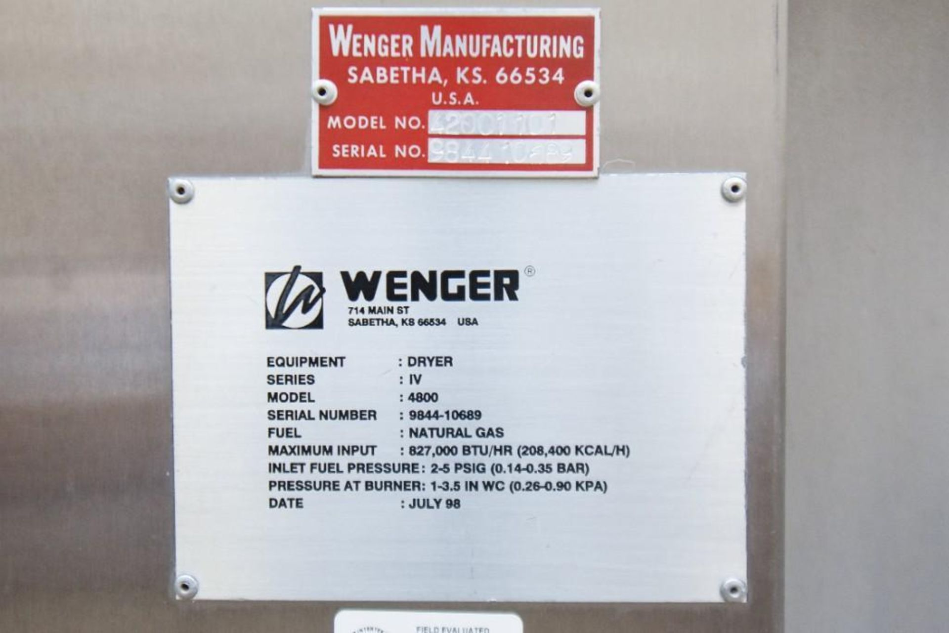 Wenger Dryer Oven #1 4800 - Image 8 of 8