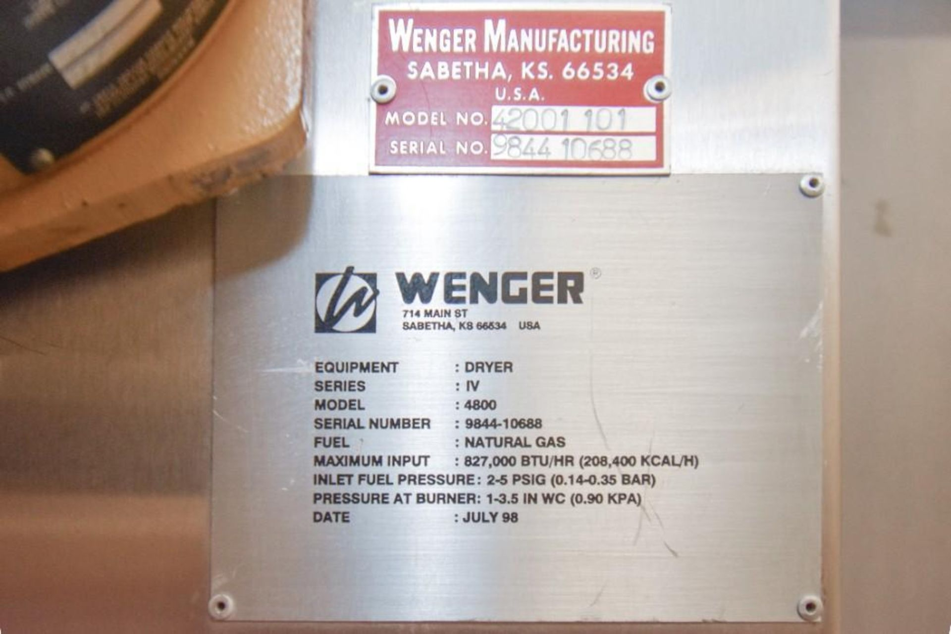 Wenger Dryer Oven Series IV 4800 - Image 7 of 7
