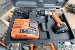 RIDGID CORDLESS DRILL WITH CHARGER AND CASE